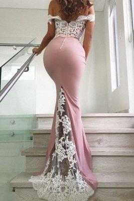 Pink Off The Shoulder Mermaid Prom Dresses | Long Lace Long Formal Dresses Online BC0359_3