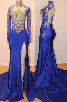 Robe de bal sexy dos bleu appliques bleu royal doré | 2020 Robe de soirée pas chère à manches longues et fente latérale_1
