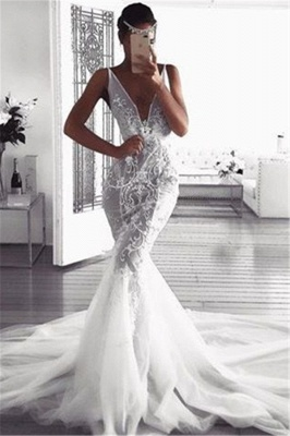 Gorgeous Mermaid Deep V-Neck Wedding Dresses | Sleeveless Tulle Lace Appliques Bridal Gowns_1