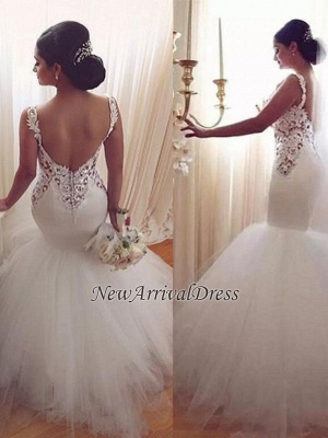 Lace Appliques V-Neck Sexy Mermaid Wedding Dresses Cheap Online Sleeveless Tulle Bridal Gowns_1