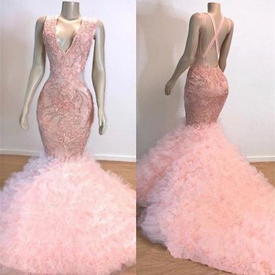 Mermaid Ruffles Junior Long Prom Dresses Cheap   Pink V-Neck Sleeveless Open Back Lace Evening Dresses_3