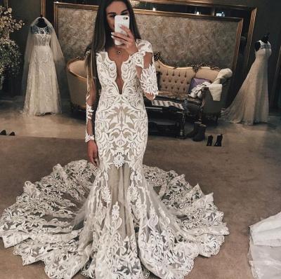 Long Sleeve Unique Lace Wedding Dresses Cheap | Mermaid Lace Long Train Bridal Gowns_3