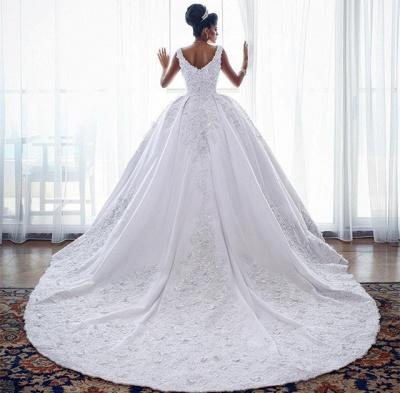 Glamorous Straps Lace Wedding Dresses | 2019 Sleeveless Puffy Ball Bridal Gowns_4