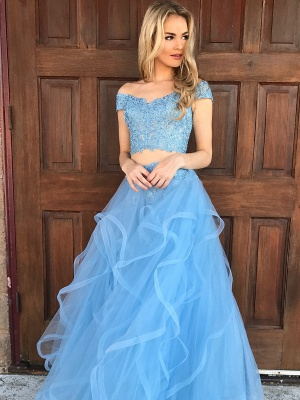 Chic Off-shoulder V-neck Floor-length Tulle Appliques Two-piece Prom Dresses