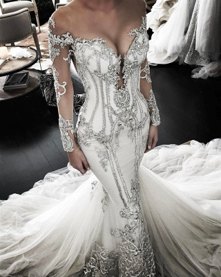 Elegant Beautiful Lace Appliques Mermaid Long Sleeve Wedding Dresses   Mermaid Online Cheap Bridal Gowns_1