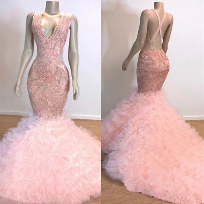 Mermaid Ruffles Junior Long Prom Dresses Cheap | Pink V-Neck Sleeveless Open Back Lace Evening Dresses_3