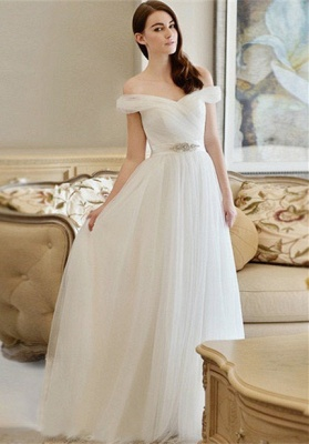 Off The Shoulder Long Sexy Cheap New Arrival A-line Crystal Wedding Dresses_2