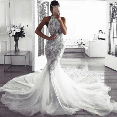 Sexy Sleeveless Halter Wedding Dresses with Lace | Mermaid Fluffy Tulle Bridal Dresses with Chapel Train_3