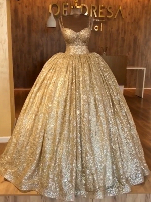 2019 Luxurious Spaghetti Straps Sleeveless Ball Gown Sequins Lace-up Prom Dresses_3