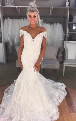 Gorgeous Mermaid Off The Shoulder Wedding Dresses | Modern Bridal Gowns for Weddings_1