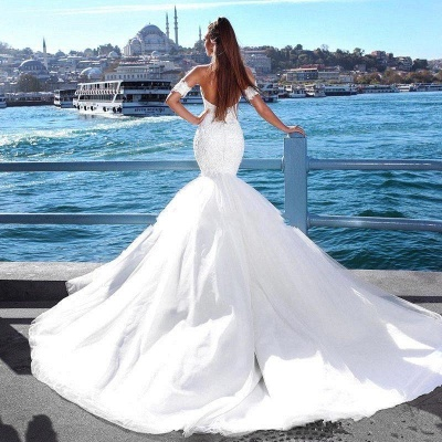 Sexy Mermaid Sweetheart Wedding Dresses   2021 Lace Open Back Bridal Gowns_4
