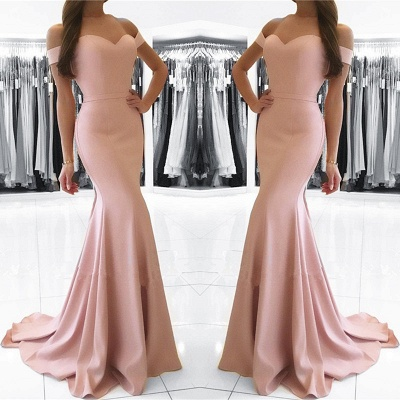 Elegant Off-the-shoulder Mermaid Sweep Train Prom Dress_3