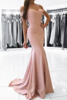 Elegant Off-the-shoulder Mermaid Sweep Train Prom Dress_1
