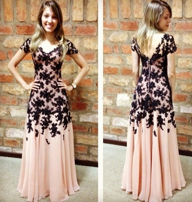 Black Lace Applique Prom Dresses Short Sleeves Pink A-line Chiffon Long Elegant Evening Gowns_3