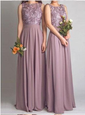 Cheap Lace Bodice Chiffon Long Bridesmaid Dresses_1