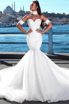 Sexy Mermaid Sweetheart Wedding Dresses   2021 Lace Open Back Bridal Gowns_1