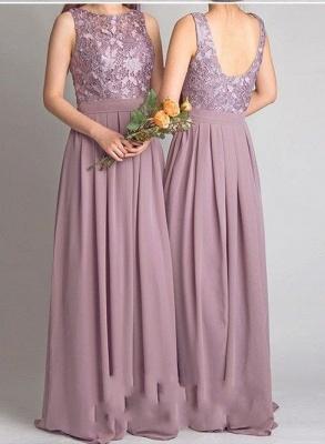 Cheap Lace Bodice Chiffon Long Bridesmaid Dresses_3