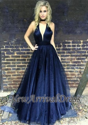 Black Newest A-line Floor-length V-neck Sleeveless Prom Dress_1