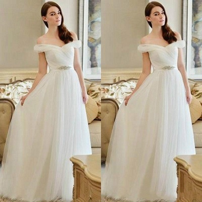 Off The Shoulder Long Sexy Cheap New Arrival A-line Crystal Wedding Dresses_3