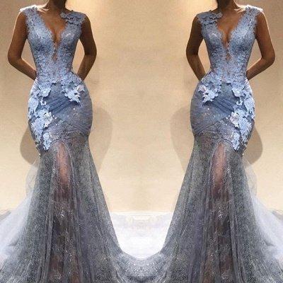 Modest Straps Lace Sheer Mermaid Evening Dress |Sleeveless Evening Gown BA9567_3