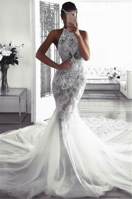 Sexy Sleeveless Halter Wedding Dresses with Lace | Mermaid Fluffy Tulle Bridal Dresses with Chapel Train_1