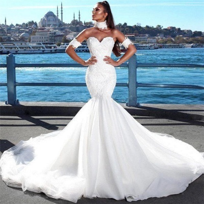 Sexy Mermaid Sweetheart Wedding Dresses   2021 Lace Open Back Bridal Gowns_3
