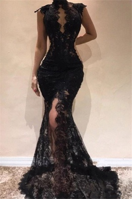 High Neck Lace Black Prom Dresses Cheap | Sleeveless Front Slit Long Evening Dresses Online