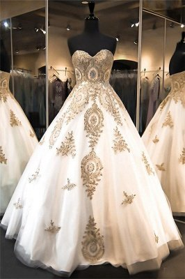 Elegant Sweetheart Gold Lace Wedding Dresses 2018 Sparkly Ball Gown Bridal Dress BA2175