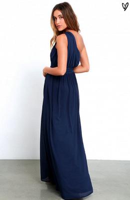 Elegant Navy Blue One Shoulder Prom DressesChiffon Long Floor Length BA3598_6