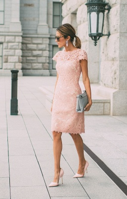 Lace Blushing Pink Formal Dresses | Knee Length Wedding Party Dress Cheap Online_2