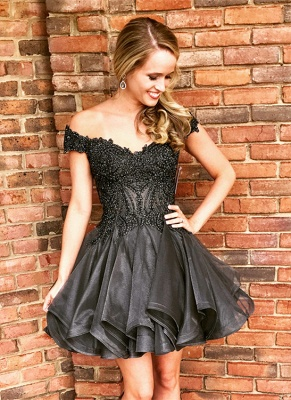 Delicate Black Off-the-shoulder Beads Homecoming Dress   Short Zipper Party Gown_1