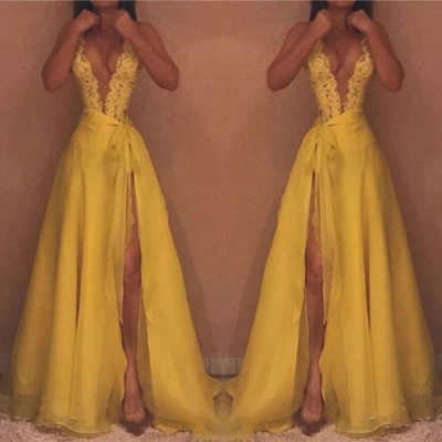 Sexy Yellow Straps Deep V-neck Evening Gown | Front Split Evening Gown_3