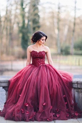 Tulle Sweetheart Appliques 3D-Floral Burgundy Amazing Ball Gown Wedding Dresses_2