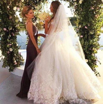 Gorgeous Short Sleeve Tulle Bridal Gowns New Lace Applique Long Princess Dresses_3