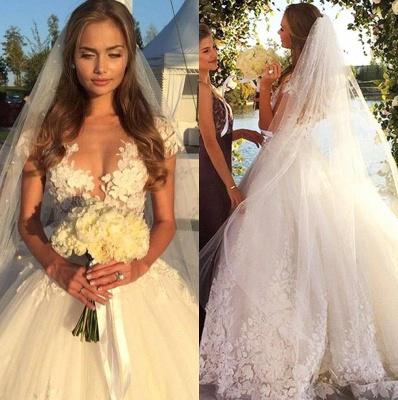Gorgeous Short Sleeve Tulle Bridal Gowns New Lace Applique Long Princess Dresses_1