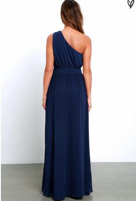 Elegant Navy Blue One Shoulder Prom DressesChiffon Long Floor Length BA3598_3
