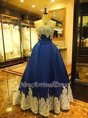 Sleeveless Strapless Appliques A-Line Elegant Evening Dress_3