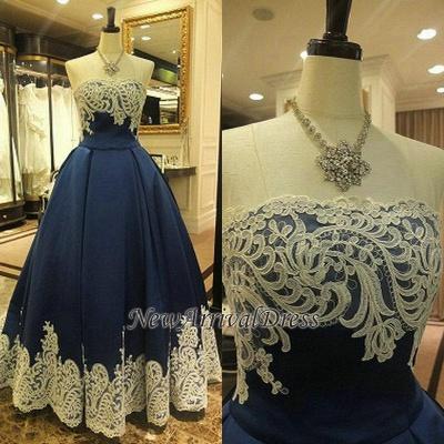 Sleeveless Strapless Appliques A-Line Elegant Evening Dress_1