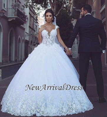 Sleeveless Puffy Tulle Ball Gown Wedding Dresses | Sexy Straps Lace Appliques Bridal Gowns_1