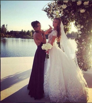 Gorgeous Short Sleeve Tulle Bridal Gowns New Lace Applique Long Princess Dresses_6