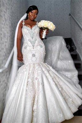 Spaghetti strap Luxury Sweetheart Wedding Dresses | Appliques Beading Mermaid Bridal Dresses