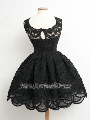 Knee Length Black Little Lace Dresses Sexy Short Homecoming Dresses_1
