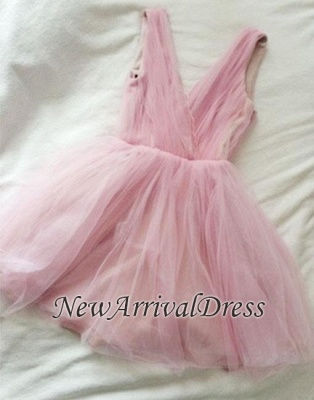 V-neck Cute Tulle Pink Simple Sexy Short Homecoming Dresses_1