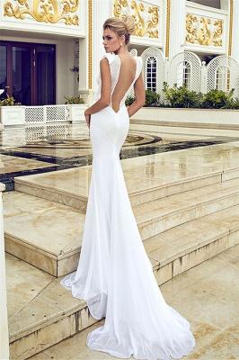 Elegant Mermaid Beading Wedding Dresses V-Neck Open Back Chiffon Bridal Gowns_2
