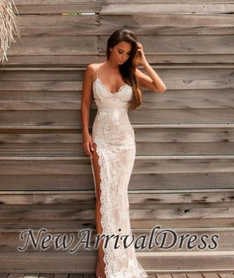 Sweetheart Sheath Side-Slit Straps Lace Spaghettis Evening Gowns LY02_4