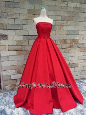 Strapless Red Bows-Sashes Puffy Simple Long Prom Dresses Cheap BA8232_1