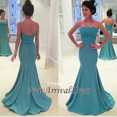 Sash Strapless Green Lace Mermaid Long Evening Gowns_1