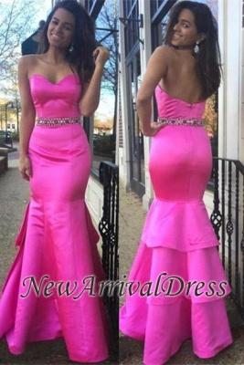 Hot-Pink Sweetheart Zipper Layered Beautiful Beadings Evening Dress_3