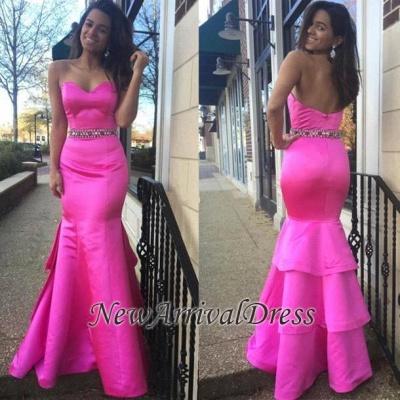 Hot-Pink Sweetheart Zipper Layered Beautiful Beadings Evening Dress_1