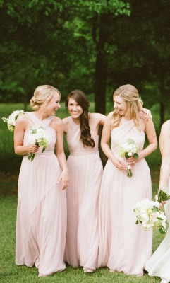 Designer Cheap Sheath Halter Pink Long Bridesmaid Dresses_2